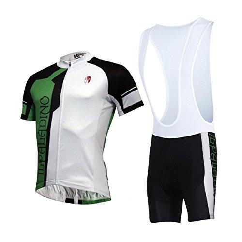 XY-QXZB Cycling Jersey Lätzchen Shorts Set Lycra Stoff Schnell trocken Ultraviolett Resistant Breathable Herren Kurzarm Kurz Hosen Fahrrad Bekleidung Anzüge(Schwarz + Weiß + Grünes Nähen), m