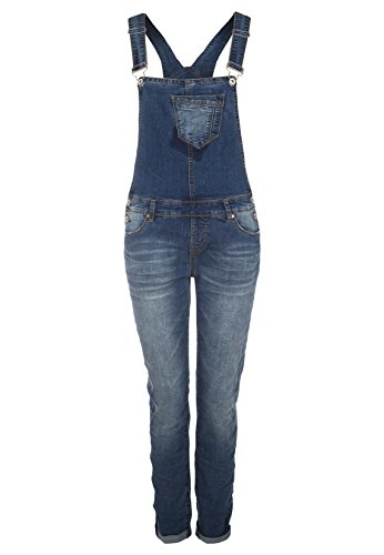 Sublevel Salopette blu denim da donna con risvolto normal fit