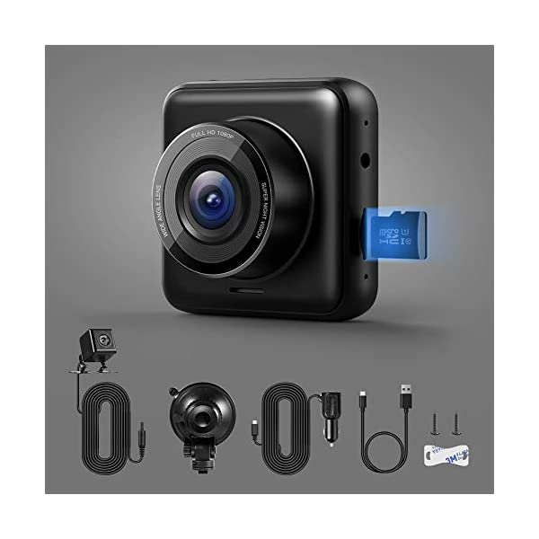 APEMAN Dual Lens Dash Cam for Cars Front and Rear with Night Vision and SD Card Included, 1080P FHD Mini Car Camera, 170°Wide Angle Driving Recorder with G-Sensor, Parking Monitor, Loop Recording, WDR 9