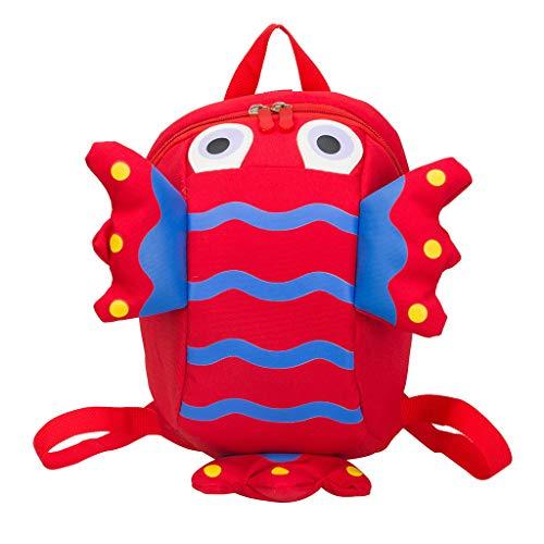 Dorical Kinderrucksack Anti-Lost Kinder Tasche Cute Rucksack, Kids Kid Handtaschen Mini Crossbody Bag Packet Kinderrucksack, für 2-5 Jährige im Kindergarten Ausverkauf(Rot)