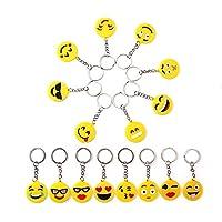 16Pcs Mini Emoji Rubber Keychains Smile Emoji Key Ring Party Bag Filler Toy Gift for Kids