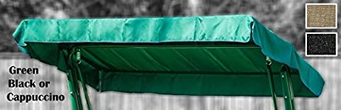 2 & 3 SEATER REPLACEMENT CANOPY COVER FOR SWING SEAT GARDEN HAMMOCK - GREEN, BLACK OR CAPPUCCINO (2 Seater,