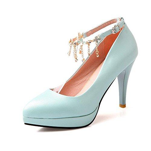 AgooLar Damen Schnalle Stiletto Pu Rein Spitz Zehe Pumps Schuhe, Himmelblau, 37