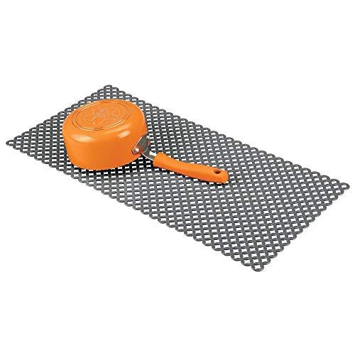 mDesign Tappetino AntiGraffio per la Protezione del lavandino - Tappetino scolapiatti Extra Large in PVC - Tappeto Protettivo per lavello dal Design a griglia - Antracite