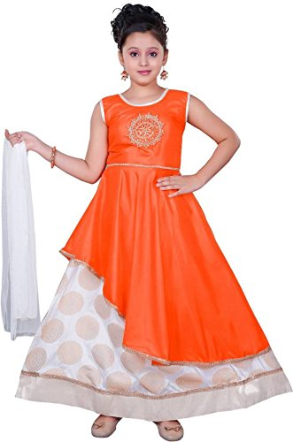 Saarah Girls Ethnic Wear Orange Color Self Design Lehenga, Choli and Dupatta...