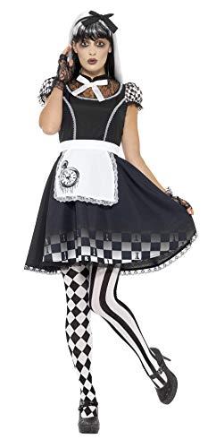 Smiffys Damen Gothic Alice Kostüm, Kleid mit Schürze und Haarband, Größe: 44-46, 46824 (Gothic Kostüm)