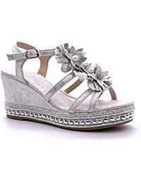 1ded598c283 Angkorly - Chaussure Mode Sandale Mule Plateforme Ouvert Romantique Femme  Fleurs Perle Strass Diamant Talon compensé