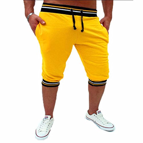 Men's Casual Mid Waist Cotton Trousers yellow