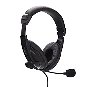 HDE D57 Binaural Over-Ear Headphones – Black Headband Headphones (PC/Games, MW, Wired Headband, Black, 6Ft)