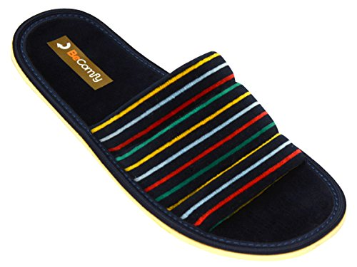 Hausschuhe Baumwolle Damen Pantolette Komfort Pantoffeln Latschen Modell DN07 Marineblau