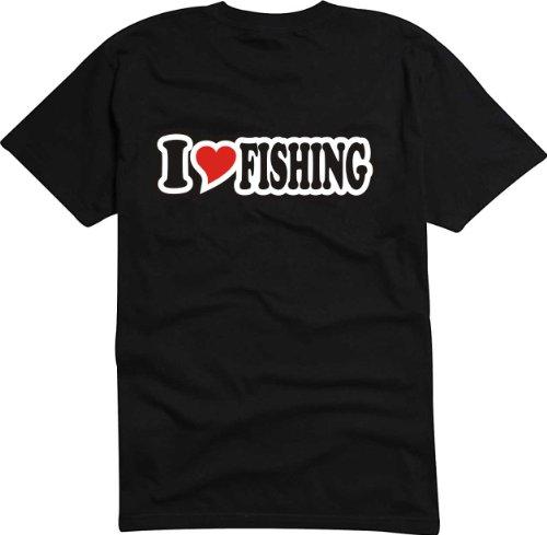 T-Shirt Herren - I Love Heart - I LOVE FISHING Schwarz