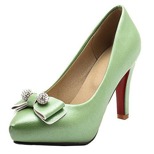 YE Damen Spitze Stiletto High Heel Pumps mit Schleife und Strass Party Büro-Dame Elegant Schuhe Grün