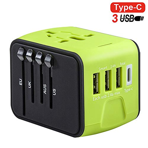 H&Y Travel Adapter Internationale Universal Power Adapter All-in-one mit 3.4A 3 USB und 1 Type-C Worldwide Smart-Buchse für UK EU US AUS