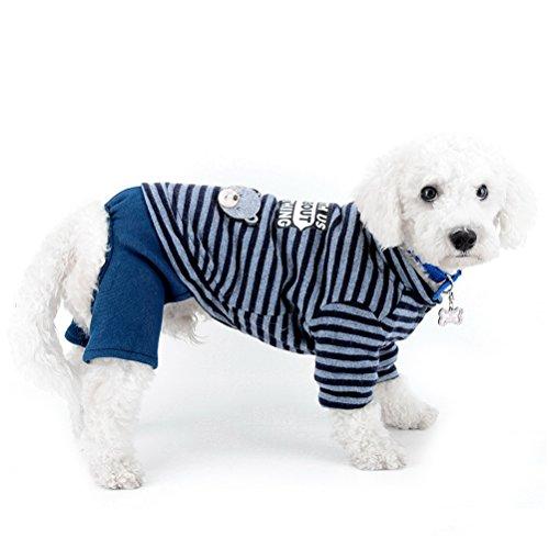 zunea Kleiner Hund Schneeanzug Fleece gefüttert gestreift Bär Jumpsuit four-legs Hose Winter Jacke Super Warm Puppy Katze Hund Chihuahua Kleidung Apparel Outfits kaltem Wetter Coats -
