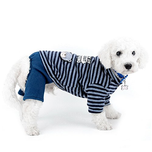 zunea Kleiner Hund Schneeanzug Fleece gefüttert gestreift Bär Jumpsuit four-legs Hose Winter Jacke Super Warm Puppy Katze Hund Chihuahua Kleidung Apparel Outfits kaltem Wetter Coats - Isolierte Arbeit Hosen