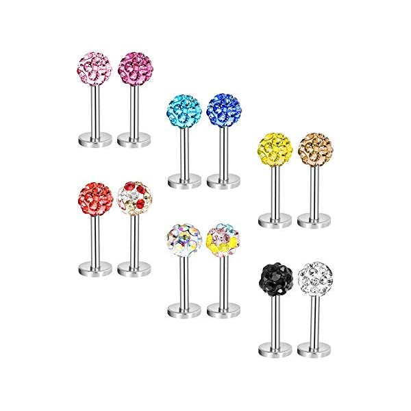 12 Pieces 16 Gauge Stainless Steel Nose Studs Labret Bars Helix Lips Body Piercing Crystal Tragus Jewelry, 12 Colors 41YdUhPKR2L