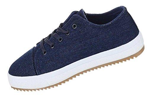 Damen Schuhe Freizeitschuhe Schnür Sneakers Blau