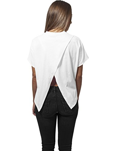Urban Classics Damen T-Shirt Ladies Overlap Turtleneck Tee Weiß (white 220)