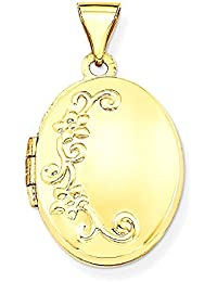 ICE CARATS 14k Yellow Gold Floral Photo Pendant Charm Locket Chain Necklace That Holds Pictures Oval Fine Jewelry Gift Set For Women Heart