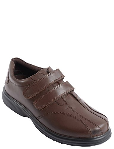Hommes Cuir Twin Touch Bouclez Shoe Fit Large Marron