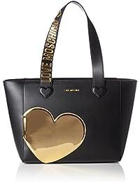 Love Moschino - Borsa Calf Pu Nero+tpu Oro, Bolsos totes Mujer, Mehrfarbig (Black/gold), 28x44x13 cm (W x H D)
