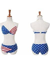 Sequin Bikinis Bikini sexy avec bandeau torsadé et rembourré Design drapeau américain