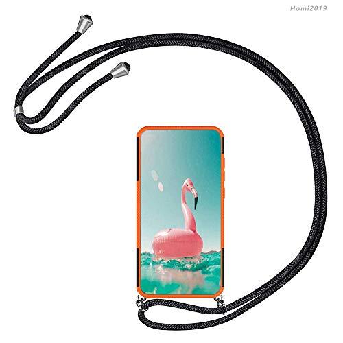 Homi2019 per Huawei Honor 10 Lite P Smart 2019 anticaduta con Cordino per Collana con Cinturino a Catena Protezione Dual Layer Difficile Silicone Kickstand Ibrida Shock Proof Cover Custodia.