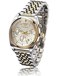 Emporio Armani AR0396 - Reloj cronógrafo de cuarzo para hombre, correa de acero inoxidable chapado color plateado (cronómetro)