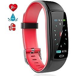 MINLUK Montre Connectée Podomètre Smartwatch Bracelet Connecté Fitness Tracker d'Activité Ecran Coloré Etanche IP67 avec Suivi de Fréquence Cardiaque, Sommeil, Calories etc. pour iPhone Android Rouge