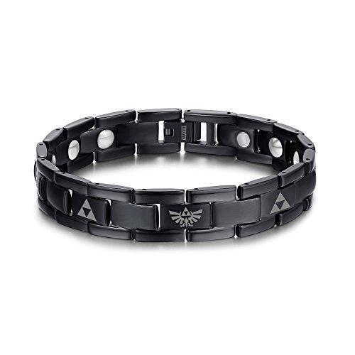 Murray Feiss Arts (Vnox Männer Pure Titan Magnetische Therapie Heilung der Legende von Zelda Triforce Link Armband Schwarz,22cm)