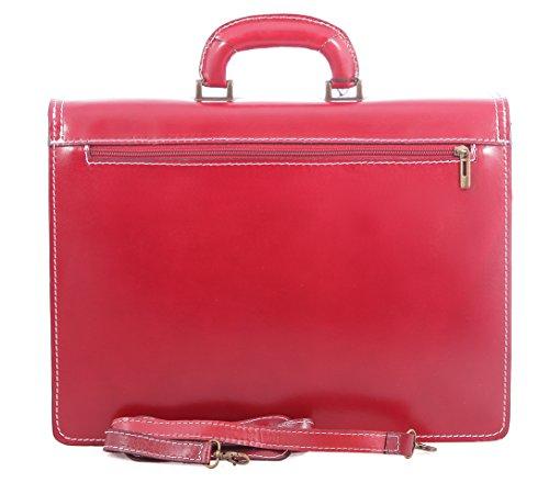 Veranstalter Mann Tasche von Italian Job, 100% echtes Leder Made in Italy Rot
