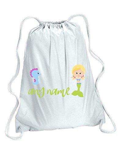 Personalizzato Mermaid M6verde coda con capelli biondi Seahorse qualsiasi nome borsa da palestra, donna, White, Capacity 5 Litres - Verde Shell Ginger