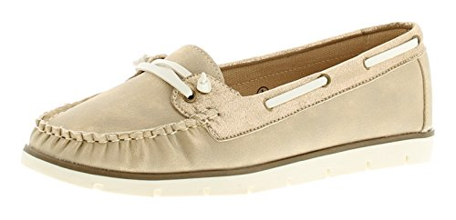ladies-womens-flat-slip-on-boat-shoes-metallic-finish-to-uppers-with-contrasting-white-lace-trim-and