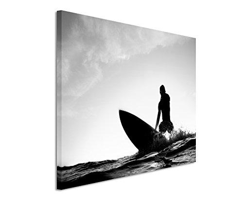 XXL Fotoleinwand 120x80cm Künstlerische Fotografie – Surfer beim Wellenreiten auf Leinwand exklusives Wandbild moderne Fotografie für ihre Wand in vielen Größen