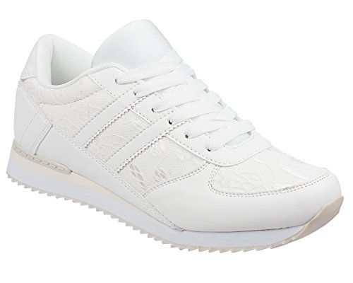 Ladies Sneaker Trainers Size 3 to 8 UK By London Shoe Co (6 UK, Cream)