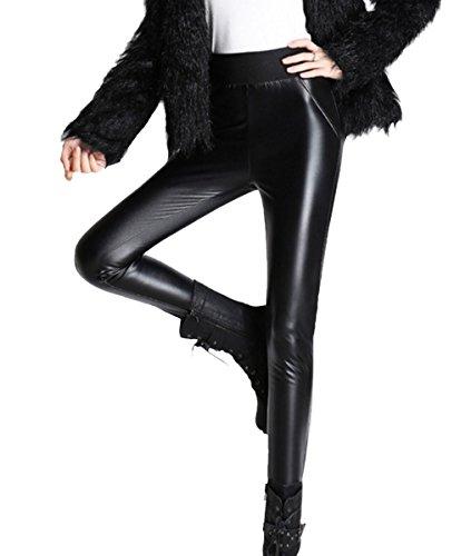 Aivtalk Damen Winter Warm Schick Strumpfhosen PU-Leder Leggings Verdickt mit Fleece Hoch Elastisch - Schwarz Größe XL (Leder Street Hose)