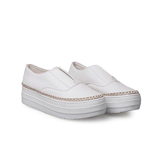 VogueZone009 Femme à Talon Bas Couleurs Mélangées Tire Rond Chaussures Légeres Blanc