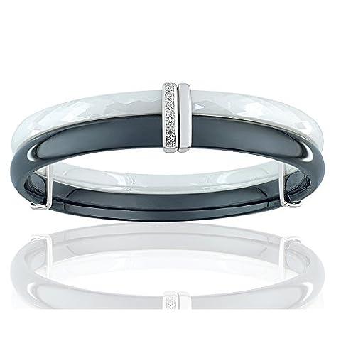 Bracelet Blue Pearls - Bracelet Bangle en Céramique noir et blanc