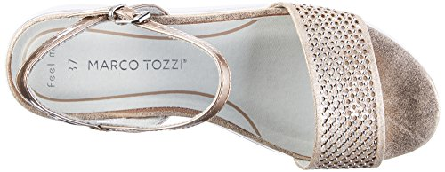 Marco Tozzi 28721, Sandales À Talons Compensés Donna Rosa (rose Metl.comb 532)