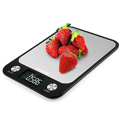 FIMEI Bilancia da Cucina Digitale, 5kg/1g Bilancia Digitale Elettronica Alta Precisione Misurazione con LCD Display - Acciaio Inossidabile