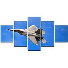 005b863ef5 kuanmais Wall Art Pictures Room Home Decor Posters 5 Unidades HD Aviones  Avión Impresos Lienzo Pintura