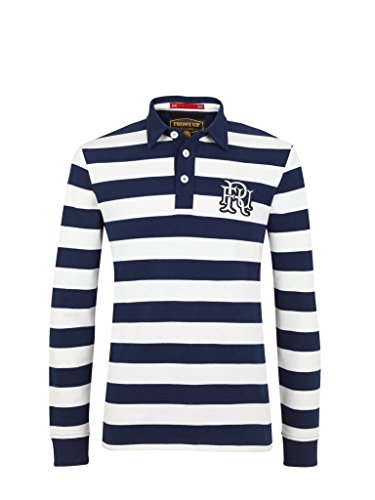 "Front Up Rugby Langärmeliges Poloshirt/ T-Shirt für Herren ""World Blau - Z73 Navy"