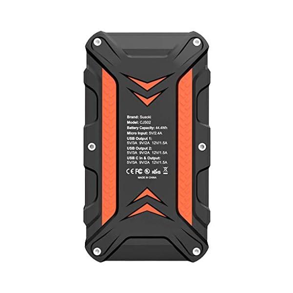 SUAOKI CJS02 Arrancador de Coche 1000A, 12000mAh Carga rápida 3.0 (hasta 7L de Gasolina o 5L Diesel) Jump Starter con Salida y Entrada de 18W Tipo C, Abrazaderas Inteligentes y Linterna LED …