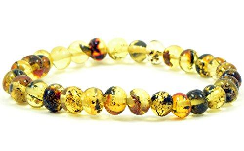 Echtes baltisches Bernstein Armband für Erwachsene, Unisex, Handgemachte Form Natur Baltische Bernstein Perlen, hellgrün Farbe, 18cm