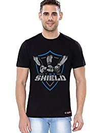 "The Souled Store The Shield ""Shield United"" Sports Printed Premium BLACK Cotton T-shirt for Men Women and Girls"