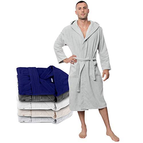 mantel, Baumwollfrottee für Herren (XL, Zinngrau), 2 Taschen, Gürtel Oeko TEX Zertifiziert - Morgenmantel - Saunamantel, Weich, Saugfähig und Bequem ()