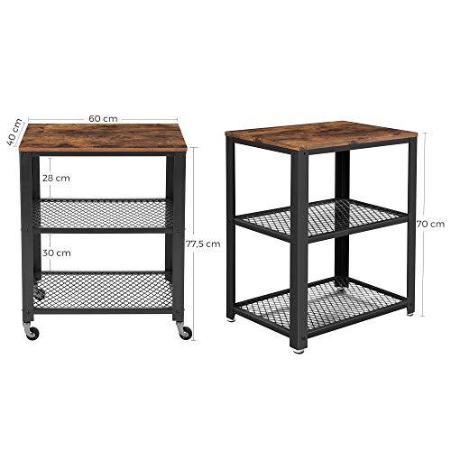VASAGLE Servierwagen im Industrie-Design, Küchenwagen, Rollwagen,  Küchenregal, aus Holz und Metall, auf 4 Rollen, 3 Ebenen für Küche und  Wohnzimmer, ...