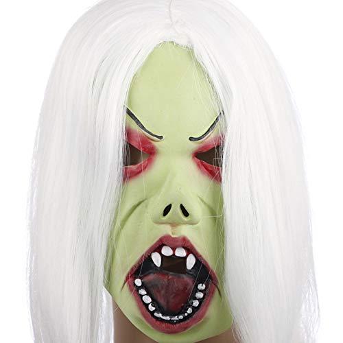 (Vikenner Halloween Hexe Maske Halbes Spukhaus Gesichtsmaske Kopf Horror Masken für Party Festival Kostüm Tanzparty Cosplay Gesicht Requisiten Erwachsene-Weißhaarige)