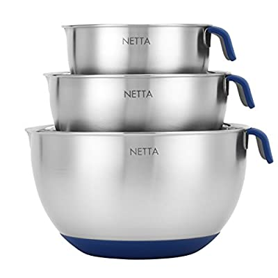 Premium 3 Piece Stainless Steel Mixing Bowl Set from Netta