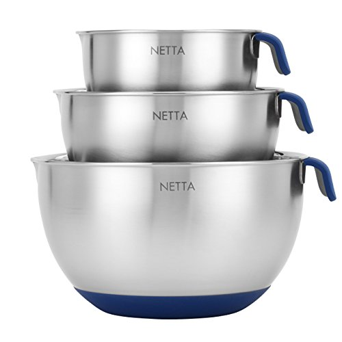 NETTA Rührschüssel Set - Edelstahl Schüsselset Mit Griffen, Ausguss, Anti-Rutsch-Boden, 3-Teiliges Set (Rührschüsseln Mit Griff)